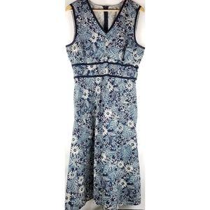 Eddie Bauer Women's Sleeveless Blue Floral Dress